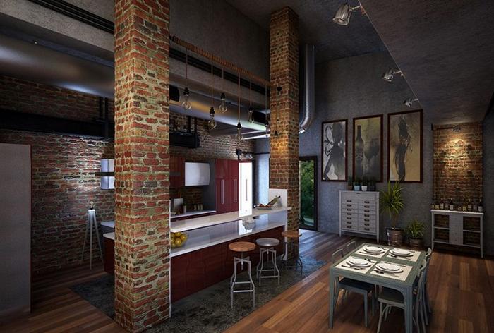 кухня в стиле лофтправила дизайна интерьера Dvorsky Studio