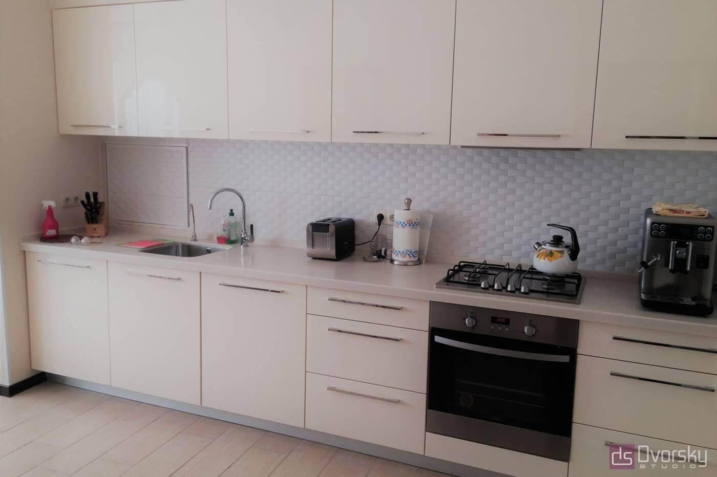 Прямые кухни Кухня цвета слоновой кости - Фото № 1