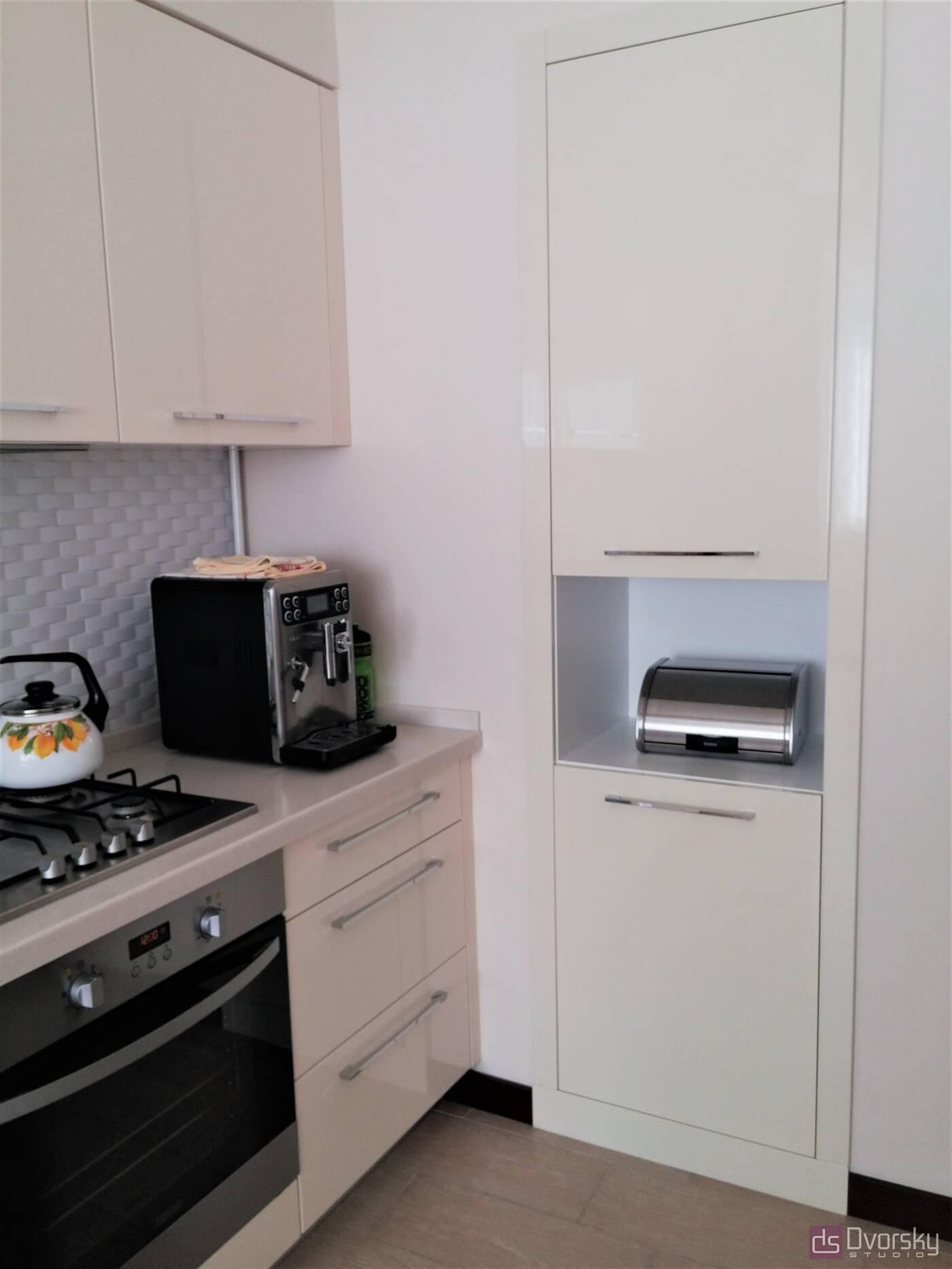 Прямые кухни Кухня цвета слоновой кости - Фото № 4