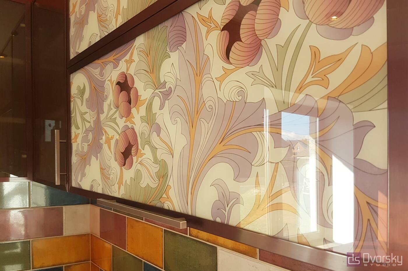 П - образні кухні Кухня в гранатових кольорах - Фото № 3