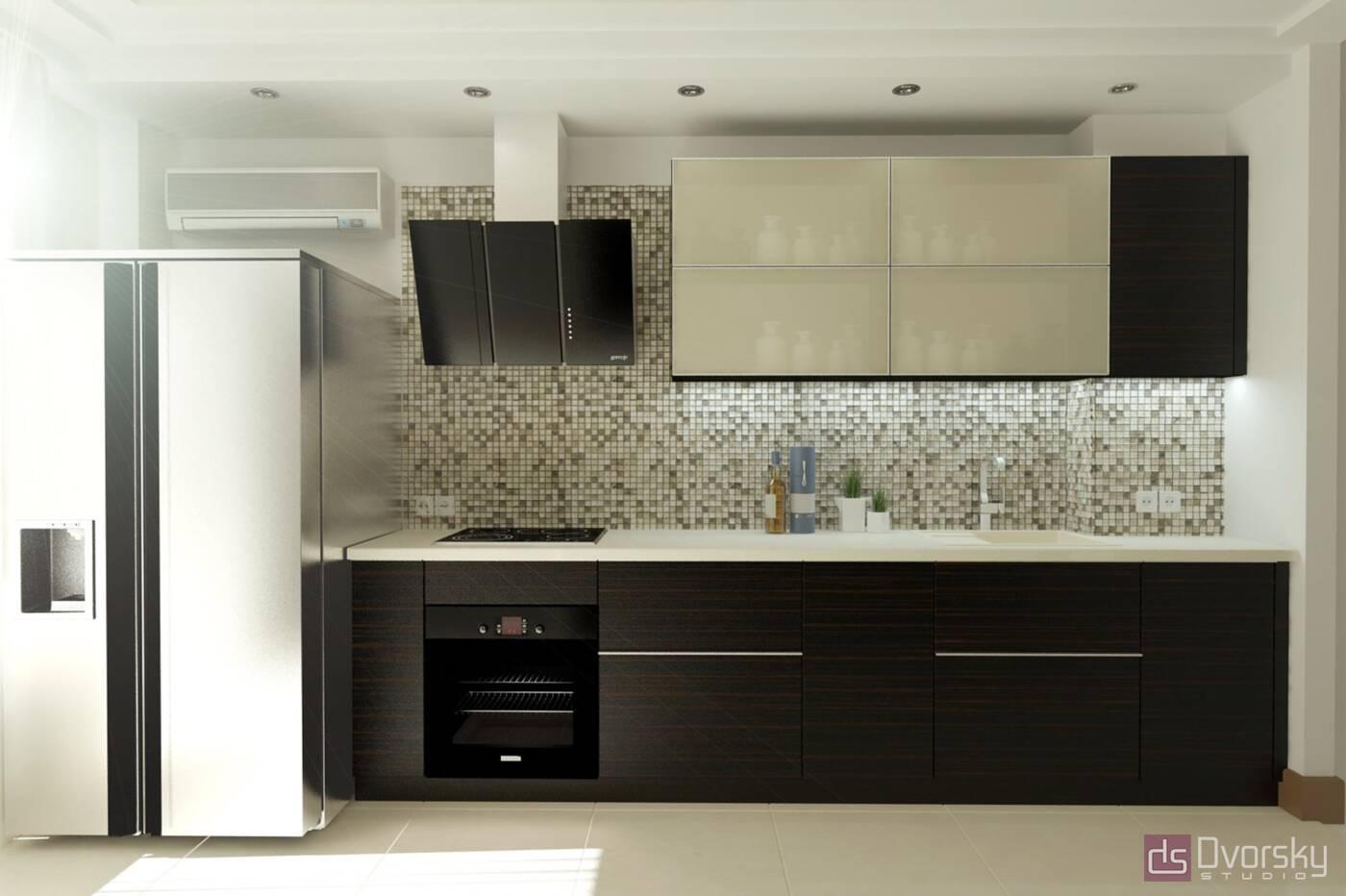 Прямі кухні Кухня дерево і скло - Фото № 1