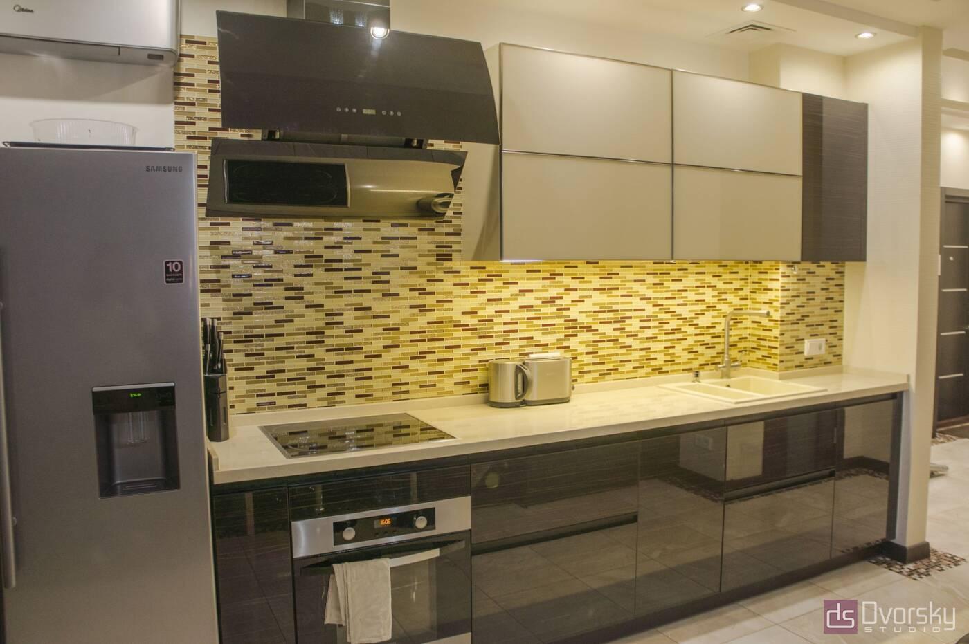 Прямі кухні Кухня дерево і скло - Фото № 2