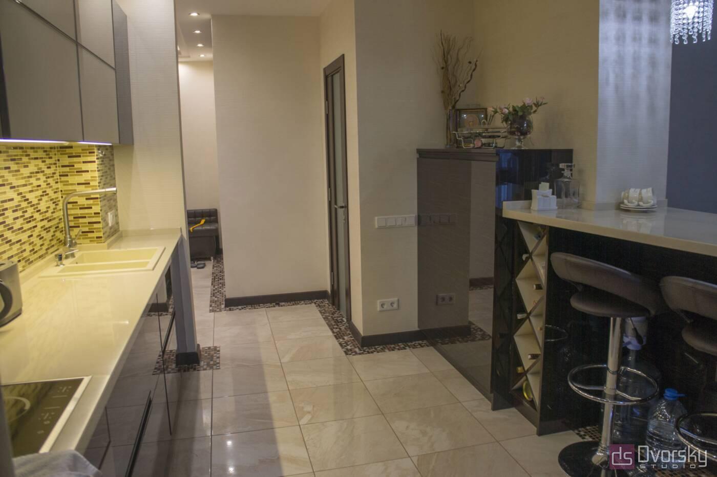 Прямі кухні Кухня дерево і скло - Фото № 8