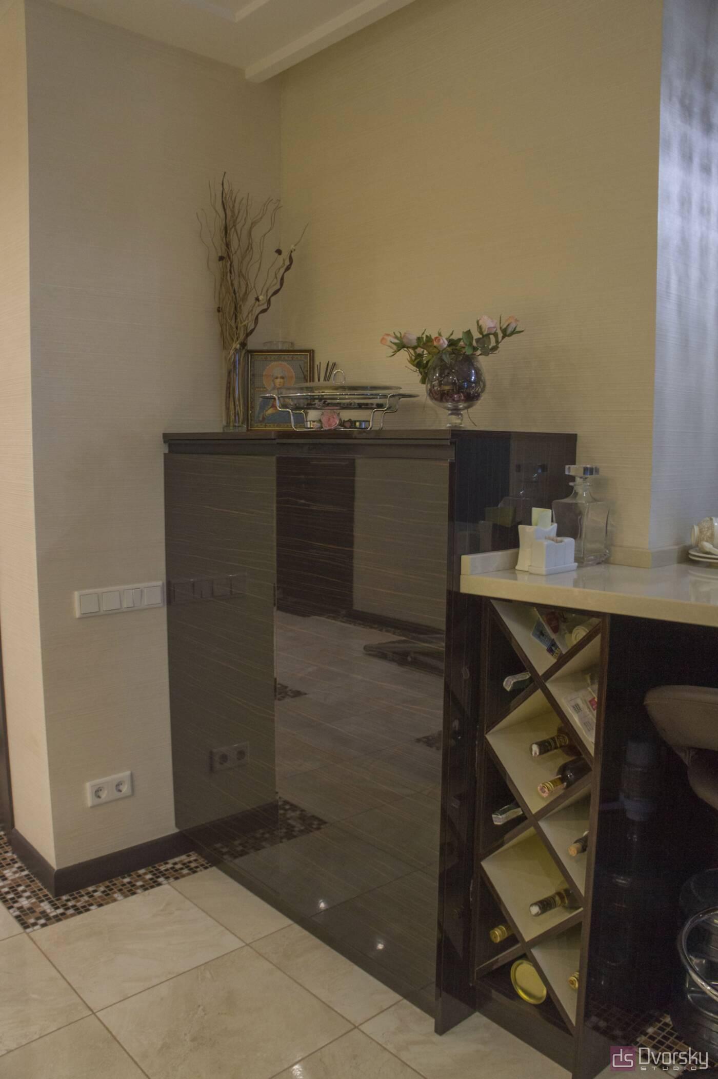 Прямі кухні Кухня дерево і скло - Фото № 9