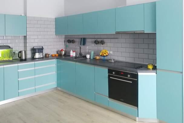 Фото кухни цвета тифани