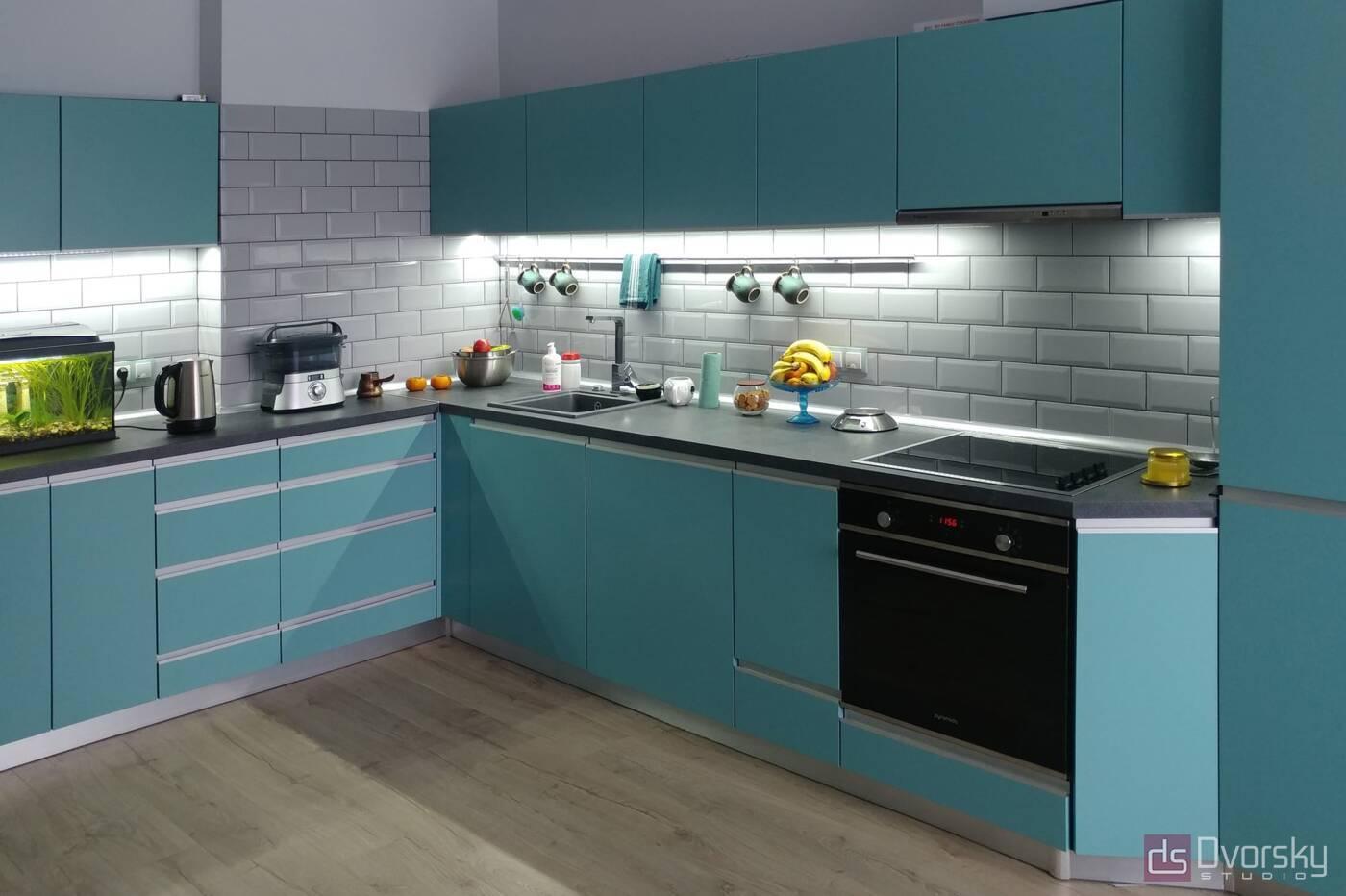 Угловые кухни Кухня с фасадами цвета Тифани - Фото № 2