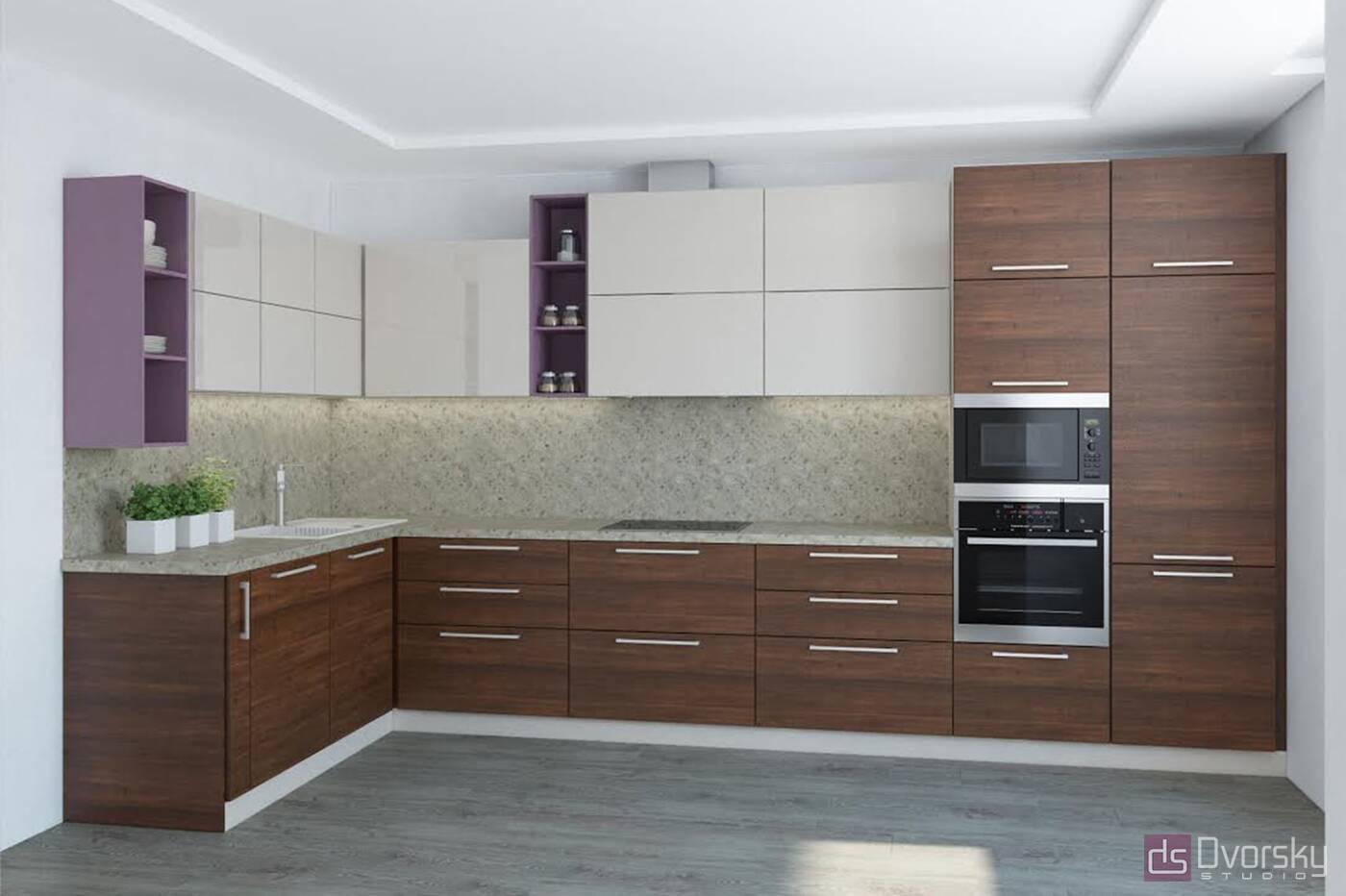 Угловые кухни Кухня с фасадами из акрила - Фото № 1