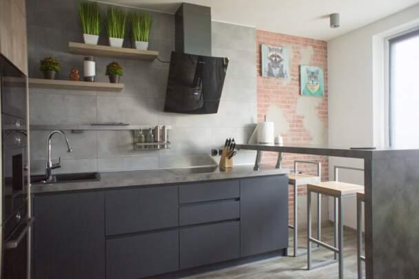 Фото кухни с текстурой бетона