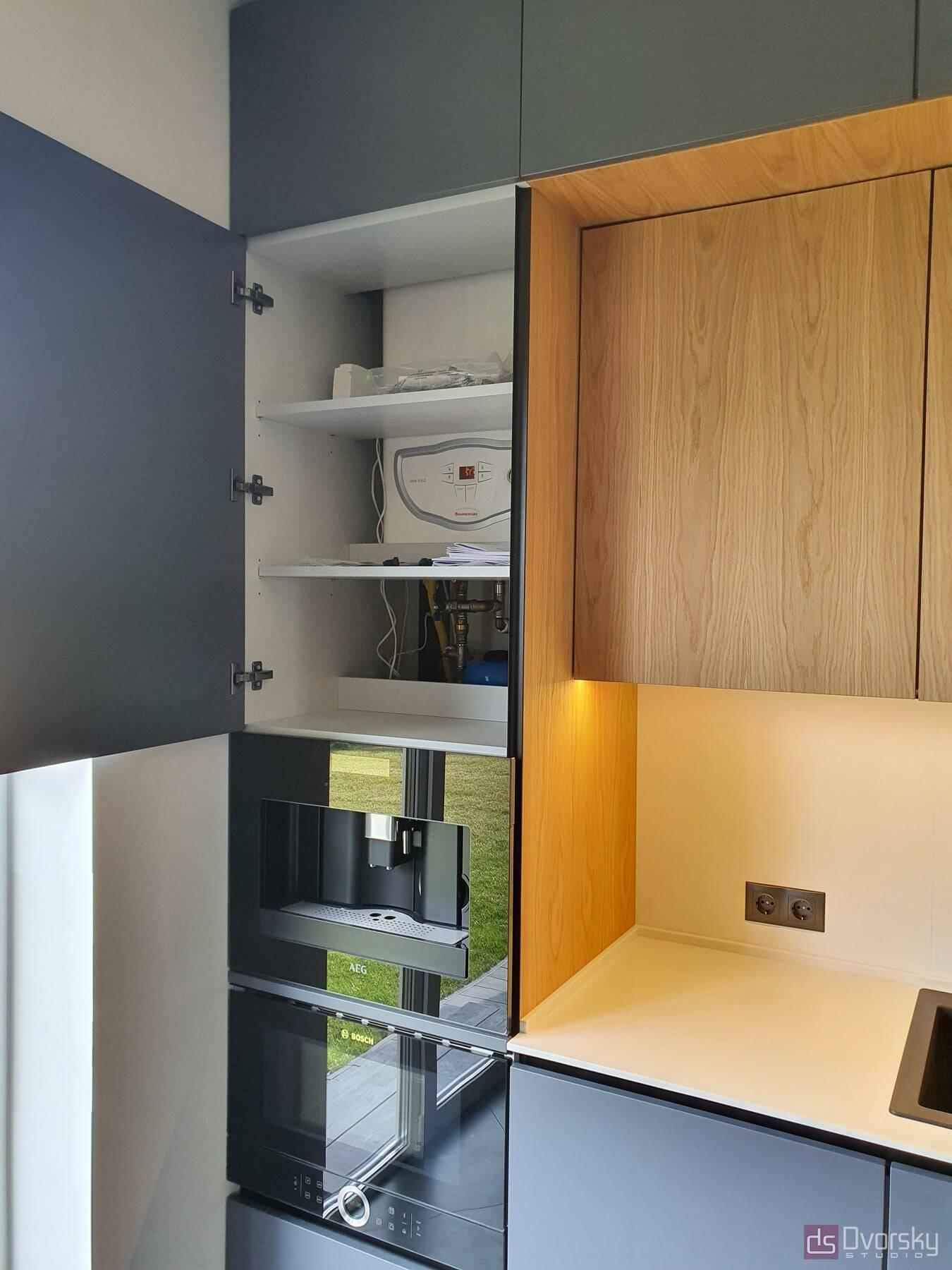Прямые кухни Кухня графит со шпоном - Фото № 5
