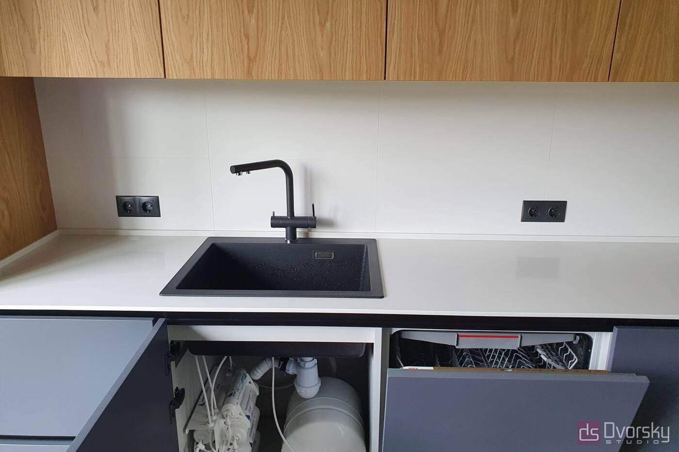 Прямые кухни Кухня графит со шпоном - Фото № 6