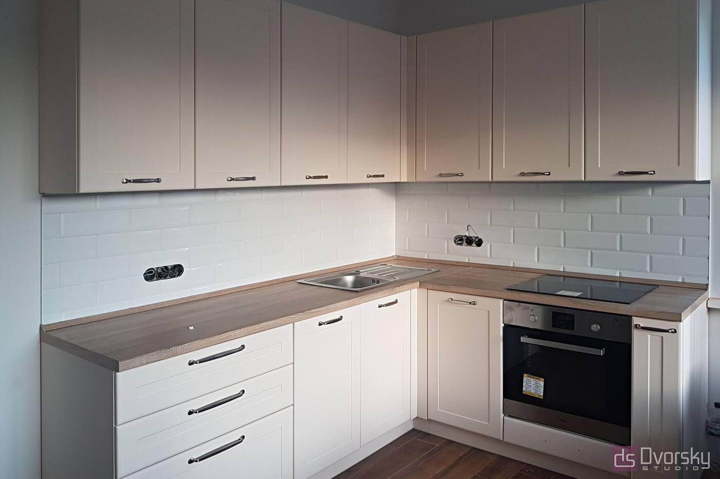 Угловые кухни Светло-бежевая кухня - Фото № 1