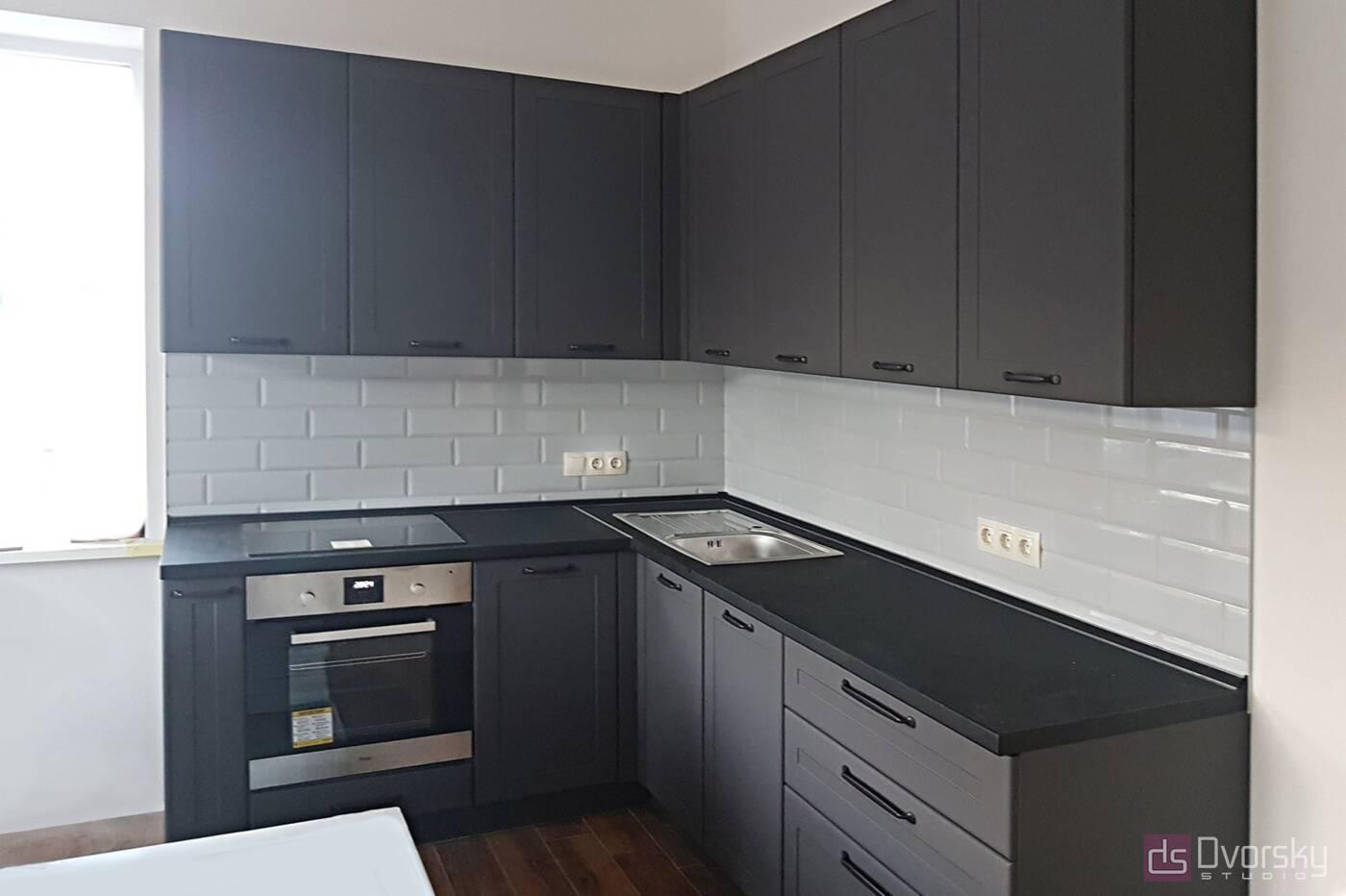 Угловые кухни Графитовая кухня - Фото № 1