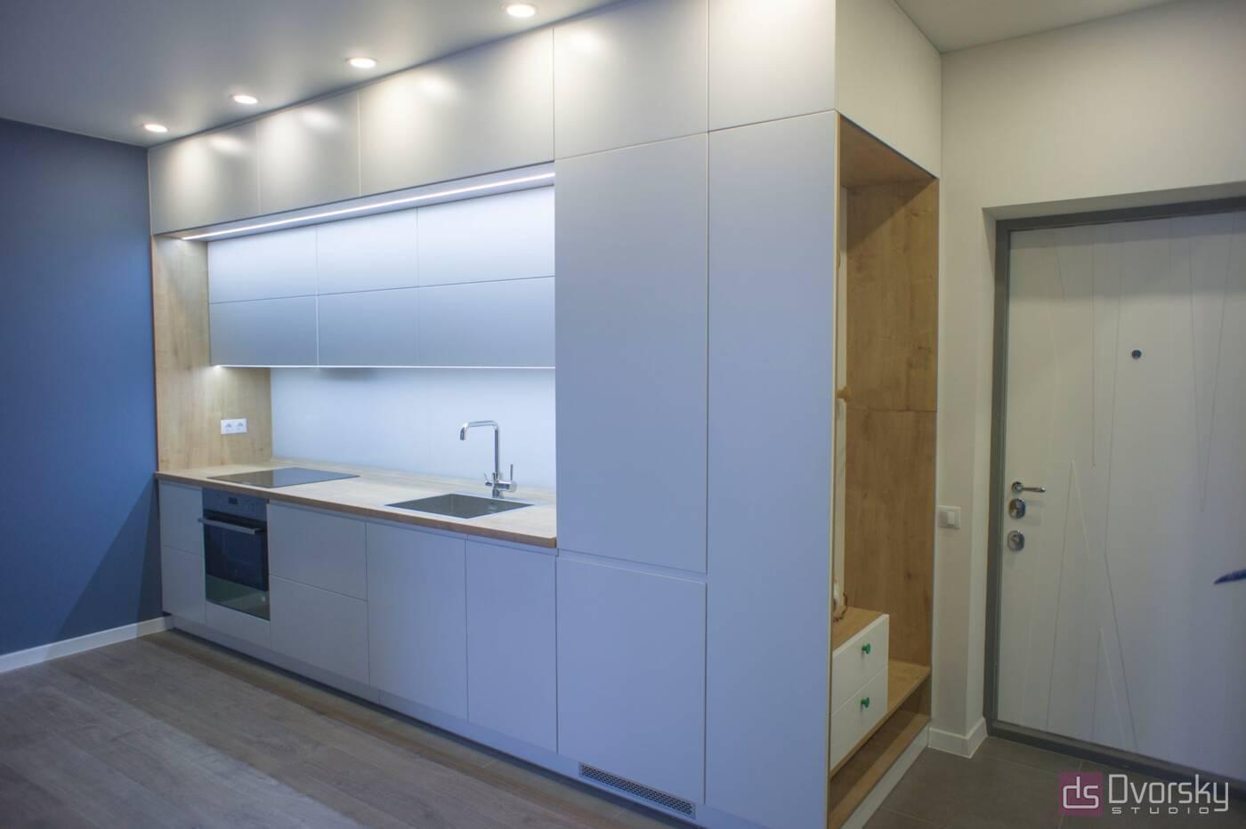 Прямые кухни Кухня 3-х уровневая - Фото № 1