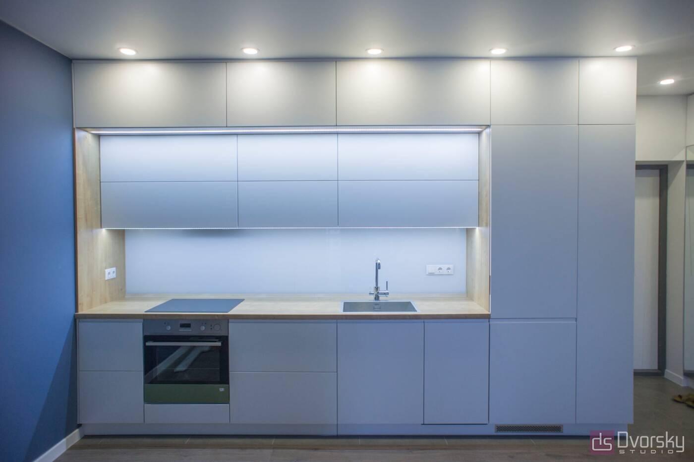 Прямые кухни Кухня 3-х уровневая - Фото № 2