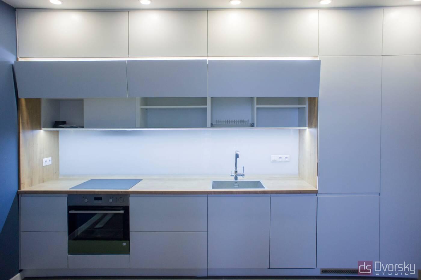 Прямые кухни Кухня 3-х уровневая - Фото № 3