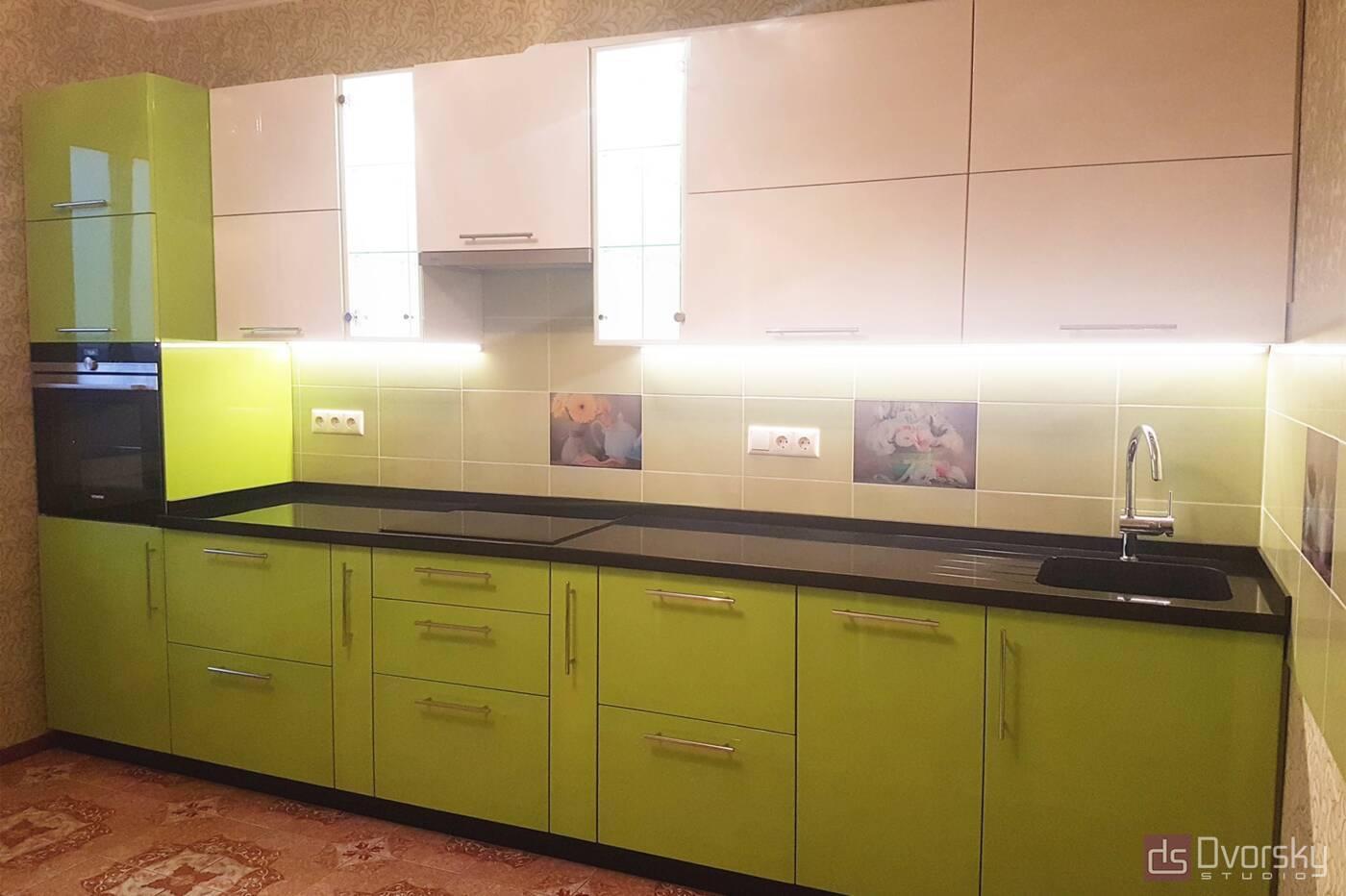 Прямые кухни Салатово-черная кухня - Фото № 1