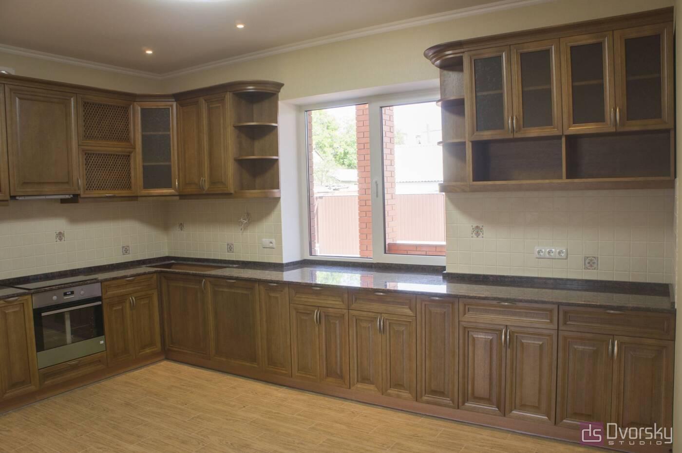 Кутові кухні Кухня з натурального дерева - Фото № 1