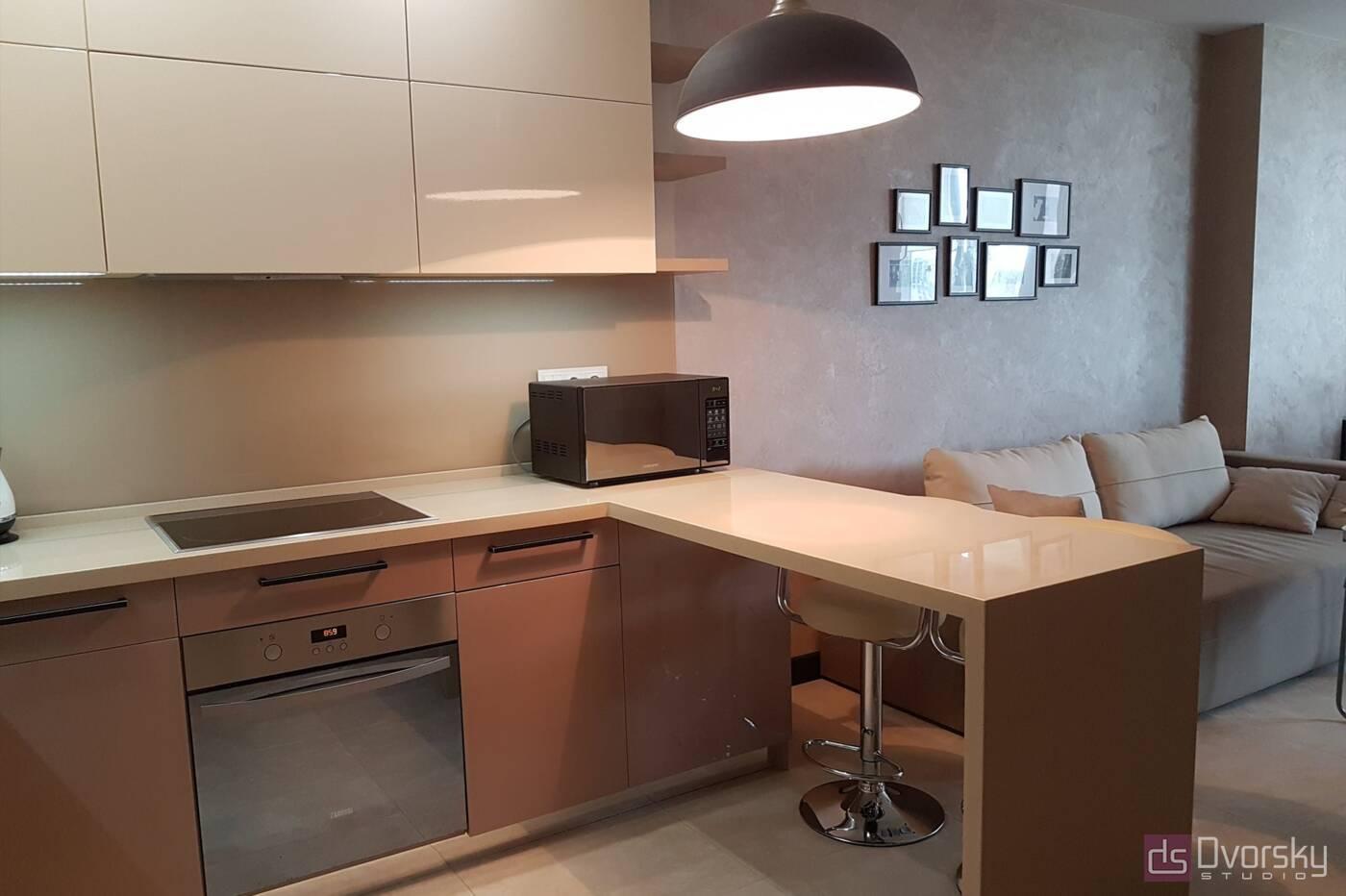 П - образные кухни Кухня в кофейных тонах - Фото № 2