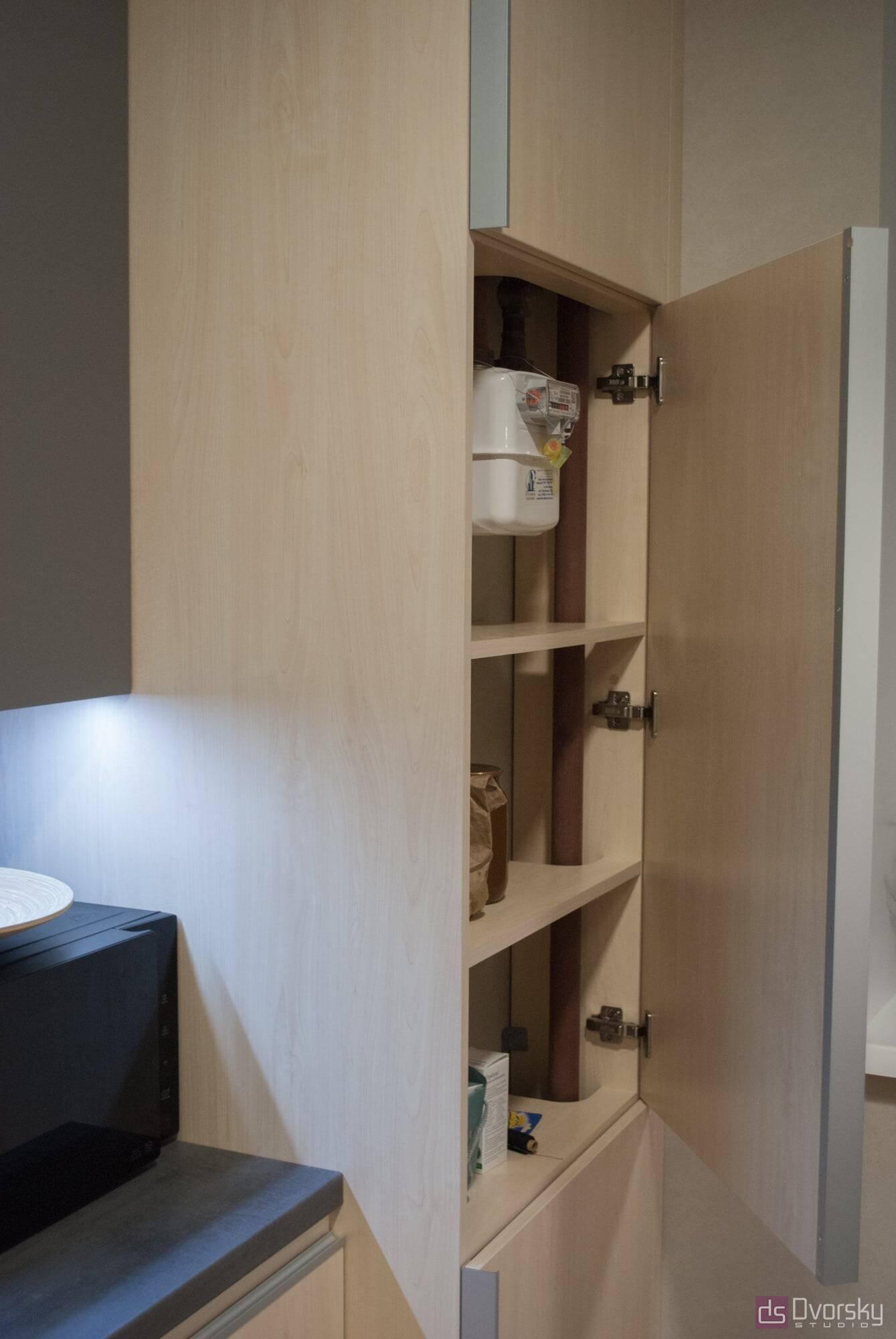 Прямі кухні Кухня з фарбованим фартухом - Фото № 5