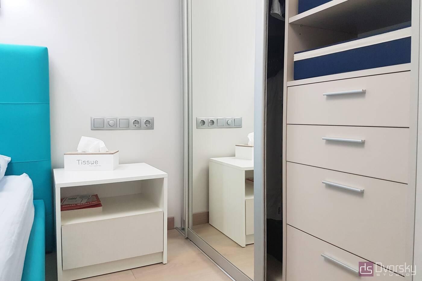 Спальни Спальня с голубым изголовьем - Фото № 3