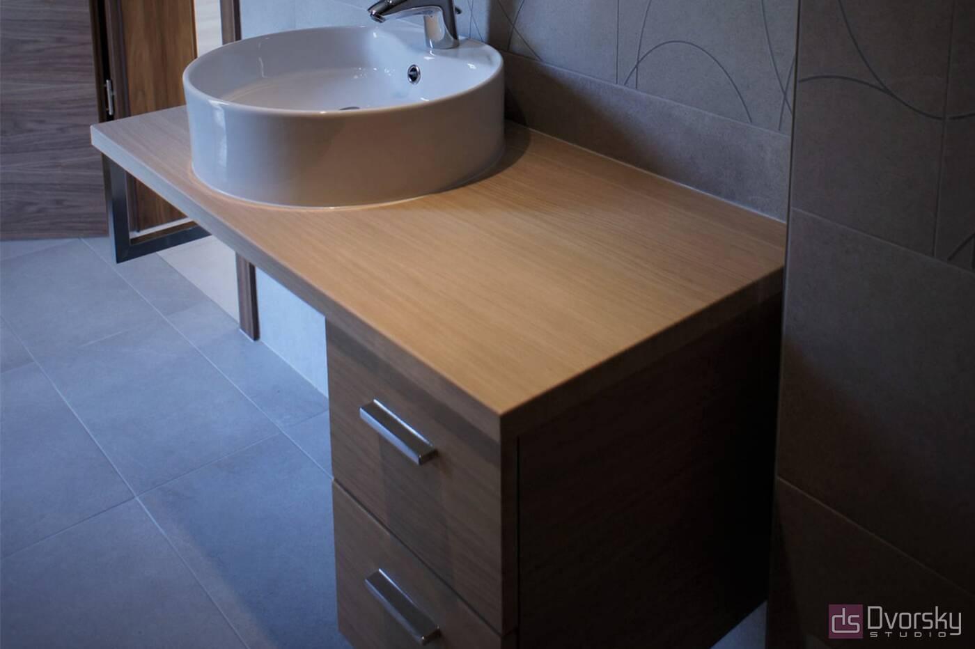 Мебель для ванной Тумба в фактуре дерева для ванной - Фото № 1