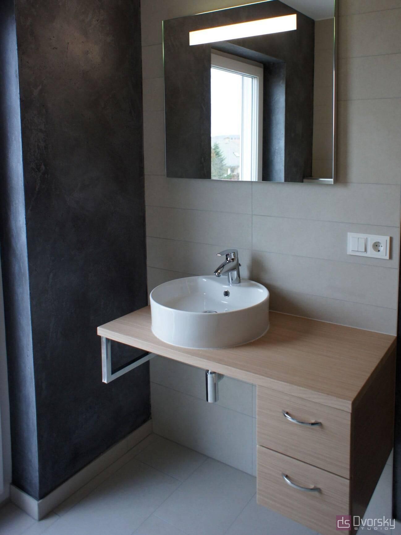 Мебель для ванной Тумба в фактуре дерева для ванной - Фото № 2
