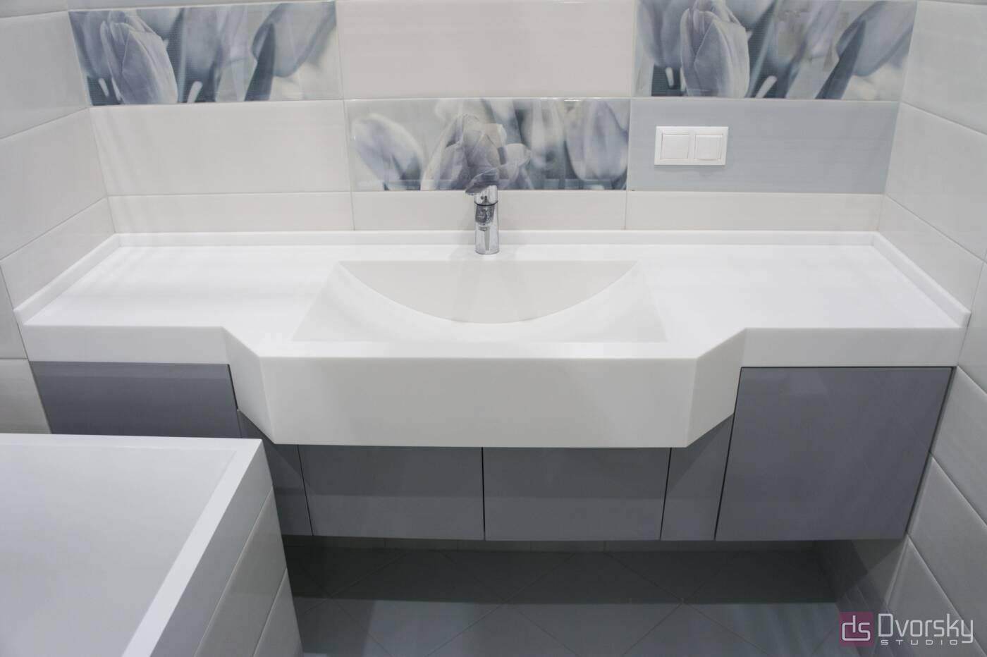 Меблі для ванної Глянцева сіра тумба у ванну - Фото № 1