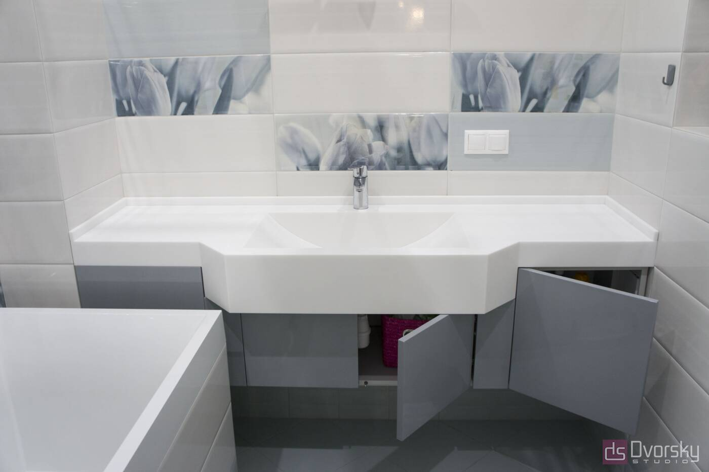 Меблі для ванної Глянцева сіра тумба у ванну - Фото № 2